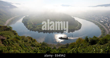Bremm Rhineland-palatinate Germany historic village Bremm is on a horseshoe bend in river Mosel Bend in Moselle - Stock Photo
