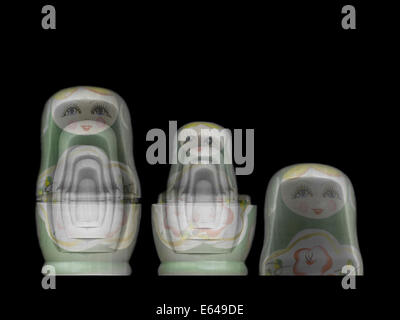 Russian Matryoshka doll under x-ray. The inner smaller dolls can be seen - Stock Photo
