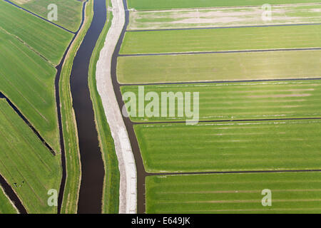 Canal & polder or re-claimed lands, N. Holland, Netherlands - Stock Photo