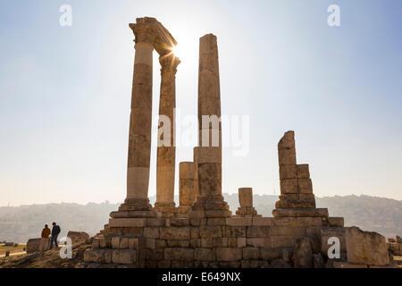 Remains of the Temple of Hercules on the Citadel, Amman, Jordan - Stock Photo