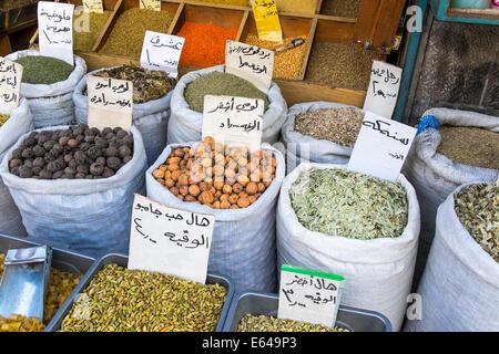 Herbs, pulses & spices in market, Amman, Jordan - Stock Photo
