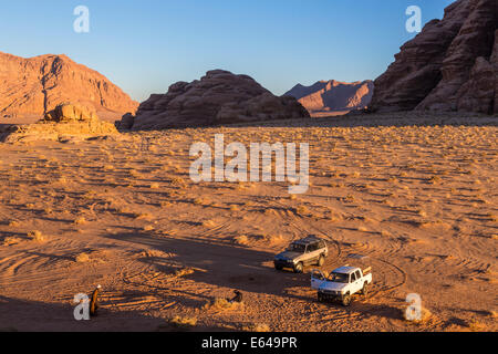 Tracks in the desert, Wadi Rum, Jordan - Stock Photo
