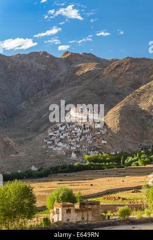 Chemre or Chemrey Village & monastery, nr Leh, Ladakh, India - Stock Photo