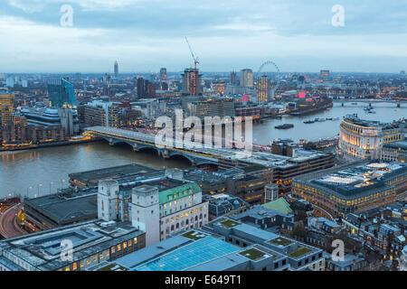 View over River Thames towards Millenium Wheel, London, UK - Stock Photo