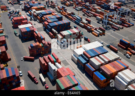 Aerial view of container port, Bayonne, New Jersey, U.S. A. - Stock Photo