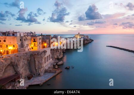 Town with San Francesco church, Vieste, Gargano, Foggia district, Apulia, Puglia, Italy - Stock Photo