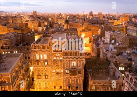 Dusk view of the cityscape of Sana'a, Yemen - Stock Photo