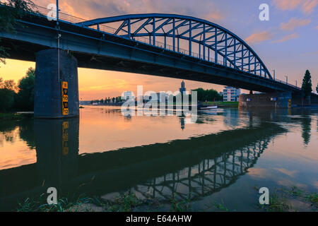 John Frost Bridge (John Frostbrug in Dutch) is the road bridge over the Lower Rhine at Arnhem, in the Netherlands. - Stock Photo