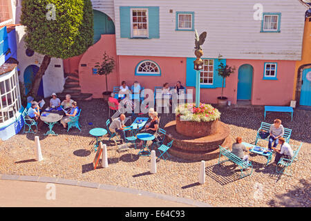 Tea patio in front of the Battery building in Portmerion Village, Wales - Stock Photo