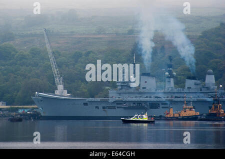 View of Faslane Royal Navy submarine base in Loch Gare on the shores of Scotland,  home port for Britain's Trident - Stock Photo