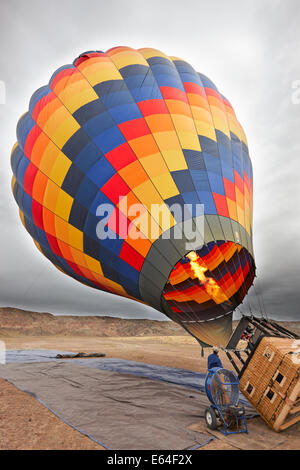 Hot air balloon being prepared for flight. Moab, Utah, USA.