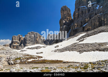 summer landscape in Sella mountain, on background Piz da Lech peak, Alto Adige, Italy - Stock Photo
