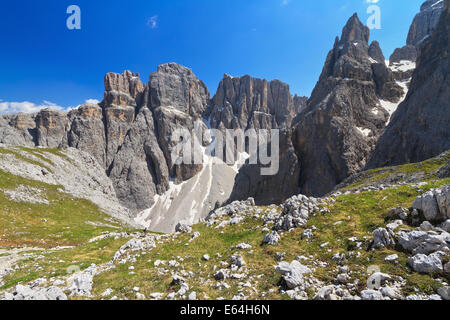 summer landscape in Sella mountain, on background Piz da Lech peak and Mezdi valley, Alto Adige, Italy - Stock Photo