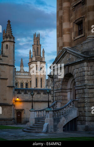 Twilight over Oxford University - All Souls College and Radcliffe Camera, Oxford, Oxfordshire, England - Stock Photo