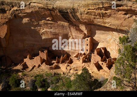 The Square Tower House Ruins, Mesa Verde National Park (UNESCO World Heritage Site), Colorado, USA - Stock Photo