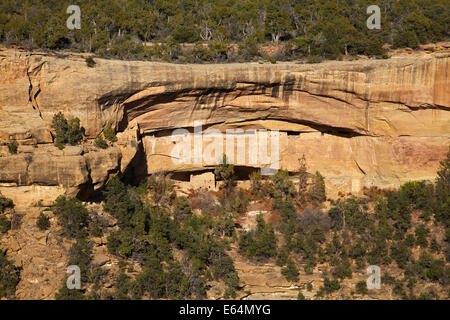 Cliff dwellings in Cliff Canyon, Mesa Verde National Park (UNESCO World Heritage Site), Colorado, USA - Stock Photo