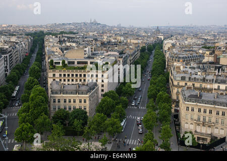 View from Arc de Triomphe at Paris, France - Stock Photo