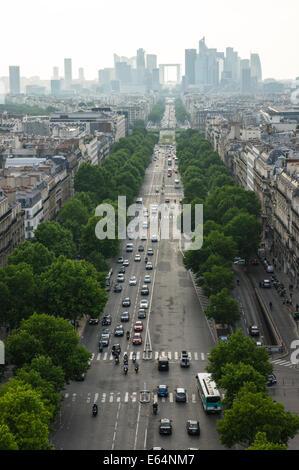 View from Arc de Triomphe at Paris business district La Defense, France - Stock Photo