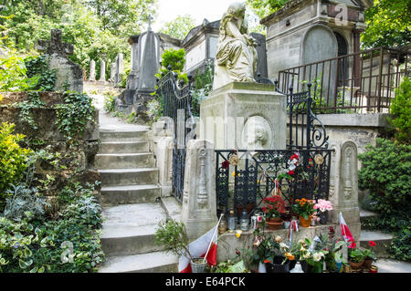 Tomb of Polish composer Frederic Chopin in Pere Lachaise Cemetery Paris, France - Stock Photo