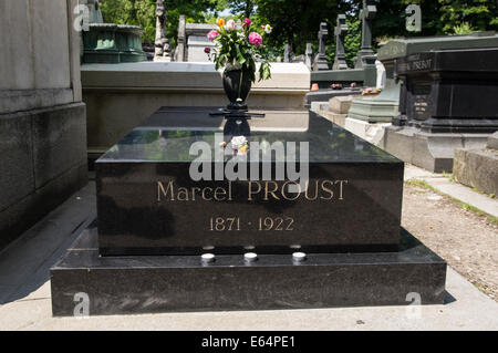Tomb of novelist writer Marcel Proust in Pere Lachaise Cemetery Paris, France - Stock Photo