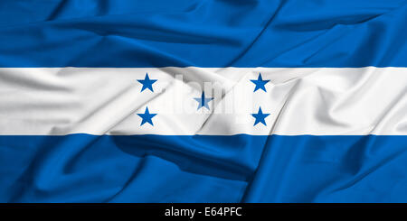 Honduras flag on a silk drape waving - Stock Photo