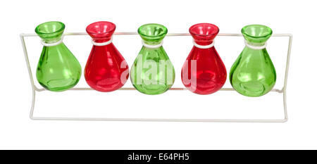 Line of Colored Beakers on a Stand - Stock Photo