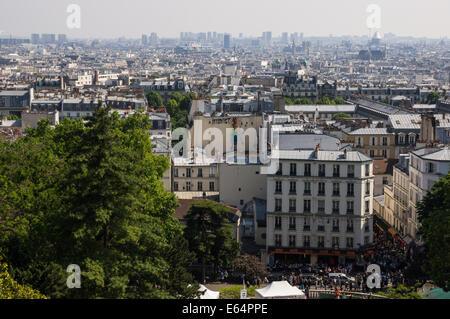 Panoramic view from Sacre Coeur Basilica, Paris, France - Stock Photo