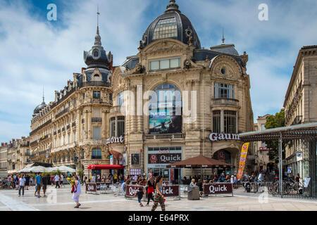 Place de la Comedie square, Montpellier, Languedoc-Roussillon, France - Stock Photo