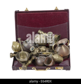 A variety of different junk items in a briefcase - path included - Stock Photo