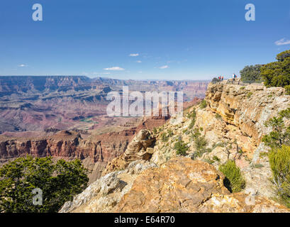 Grand Canyon south rim wide angle view from Pipe Creek Vista with Colorado River Arizona USA scenic landscape photography - Stock Photo