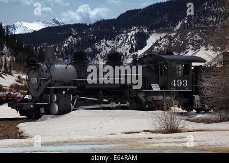 Old steam train at the historic mining town of Silverton, San Juan Mountains, Colorado, USA - Stock Photo