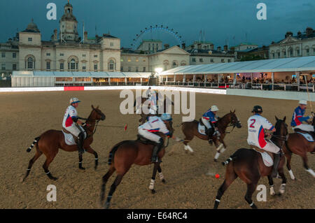 London, UK, 14 August 2014.  The famous Horse Guards Parade hosts City Polo, an inaugural evening of international - Stock Photo