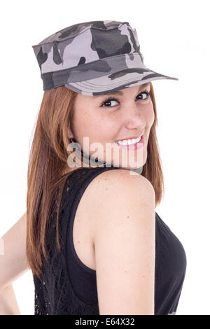 Happy young military patriotic proud girl - Stock Photo