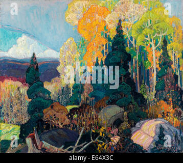 Franklin Carmichael, Autumn Hillside 1920 Oil on canvas. Art Gallery of Ontario, Toronto, Canada. - Stock Photo