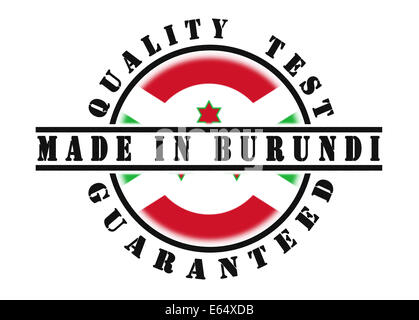 Quality test guaranteed stamp with a national flag inside, Burundi - Stock Photo