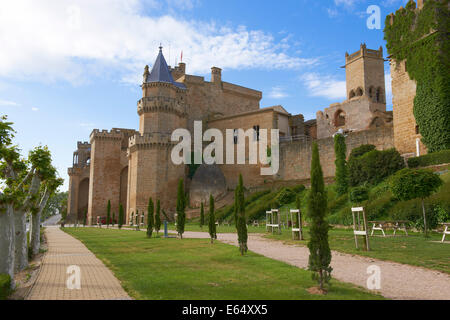 Olite, Palace of the Kings of Navarre, Castle, Navarre, Spain, - Stock Photo