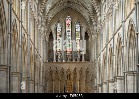 Nave, chancel, Southwark Cathedral, interior view, London, England, United Kingdom - Stock Photo