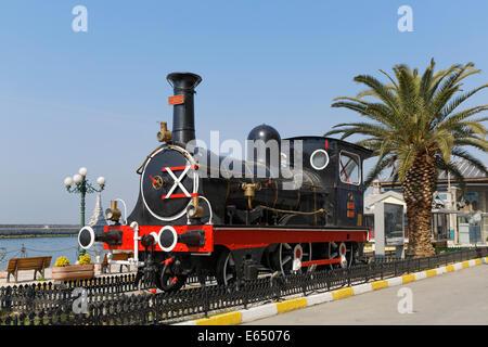 Historic steam train outside the Haydarpaşa Station on the Bosphorus, Kadiköy, Istanbul, Asian side, Turkey - Stock Photo
