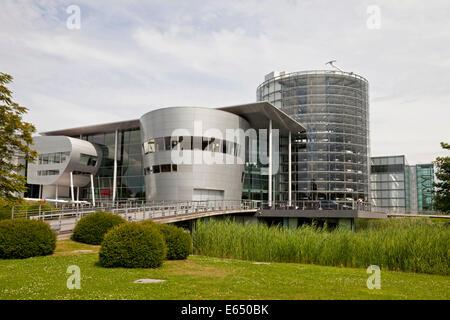Gläserne Manufaktur, Transparent Factory, car production plant, Dresden, Saxony, Germany - Stock Photo