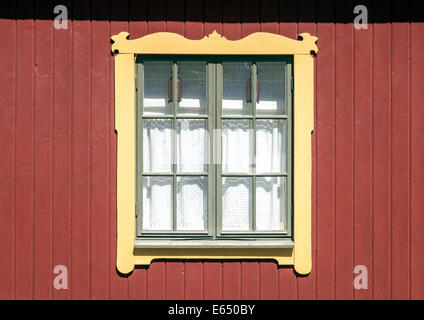 Window on a wooden residential building, Vaxholm, Stockholm archipelago, Stockholm, Stockholm County, Sweden - Stock Photo