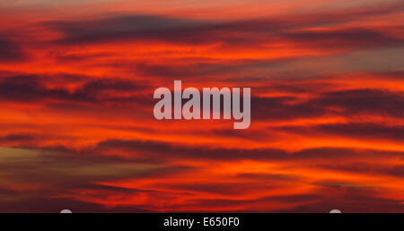 Stratocumulus clouds in sunset light, Andalusia, Spain - Stock Photo