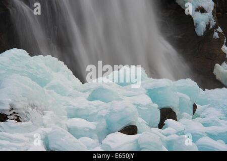 A waterfall in winter, Krimml Waterfalls, Krimml, Zell am See District, High Tauern National Park, Salzburg, Austria