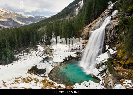 Lower Krimml Waterfall in winter, Krimml, Zell am See District, High Tauern National Park, Salzburg, Austria