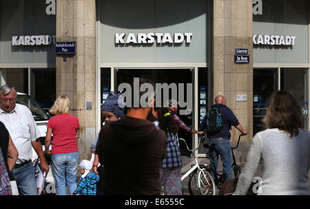 Wismar, Germany. 15th Aug, 2014. The entrance of the original company building of the Karstadt corporation from - Stock Photo