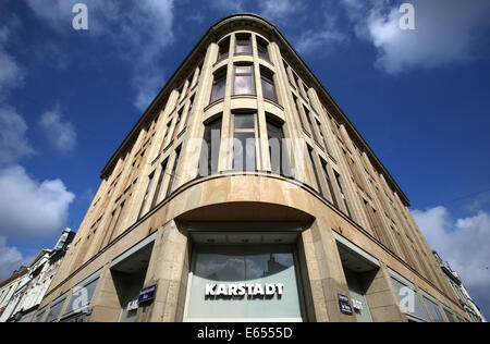 Wismar, Germany. 15th Aug, 2014. The original company building of the Karstadt corporation from 1881 is seen in - Stock Photo