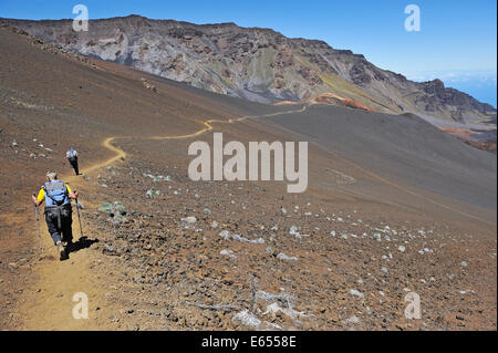 Hawaii landscape - walkers in Haleakala Crater National Park, Maui Island - Stock Photo