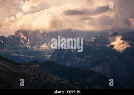 Panoramic view of mountain sunset, Val di Fassa, Italian Dolomites