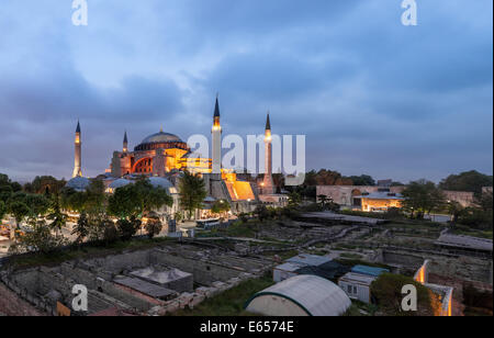 Panoramic photo of Hagia Sophia church and mosque in Istanbul, Turkey - Stock Photo