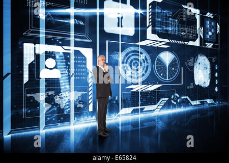 Composite image of happy businessman looking away - Stock Photo