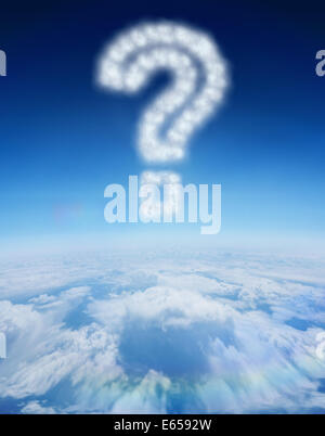 Composite image of cloud in shape of question mark - Stock Photo